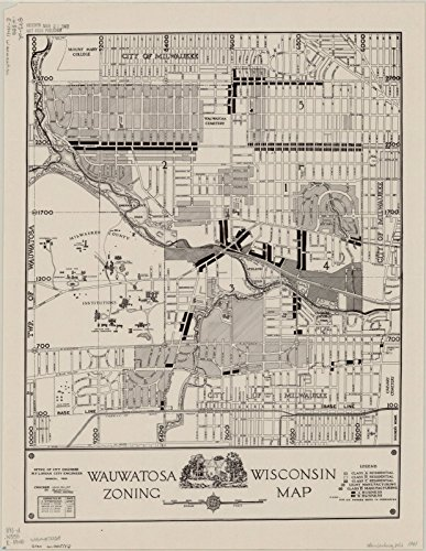 Historic Map Reproductions - Historic Map | Wauwatosa, Wisconsin 1941 | Wauwatosa, Wisconsin zoning map | Antique Vintage Reproduction 18in x 24in