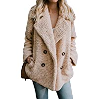 Dokotoo Womens Fleece Open Front Coat with Pockets Outerwear