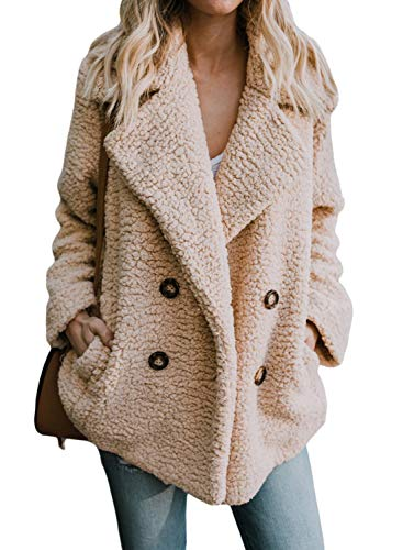 HOTAPEI Womens Plus Size Warm Solid Oversized Fleece Open Front Fuzzy Loose Coats with Pockets Fluffy Cardigan Sweater Jacket Coat Outwear Khaki X-Large -