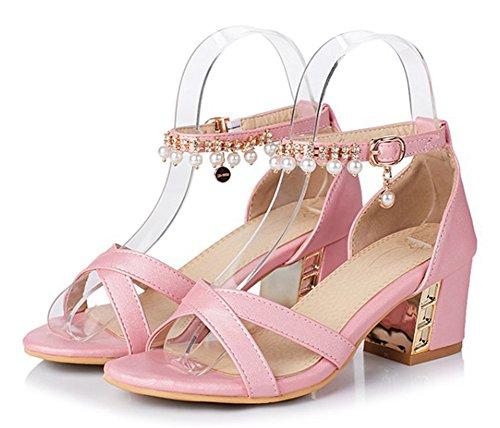 Aisun Mode Féminine Perlée Strass Vestimentaire Bouffante Moyen Bloc Talon Bout Ouvert Sandales Avec Bride À La Cheville Rose