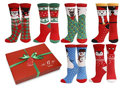 GILBINS Women Christmas Holiday Design Crew Casual Socks 6 Pairs, Gift Box Packaged With Gift Card (Size 9-11) (Gift Wrapped Box 2)