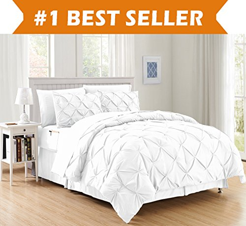 Luxury Best, Softest, Coziest 8-PIECE Bed-in-a-Bag Comforter Set on Amazon! Elegant Comfort - Silky Soft Complete Set Includes Bed Sheet Set with Double Sided Storage Pockets, Full/Queen, White (White Comforter Set Pintuck)