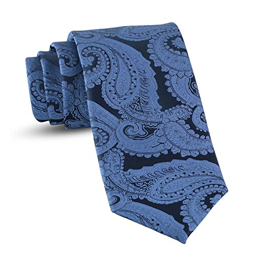 Handmade Paisley Ties For Men Skinny Woven Slim Steel Blue Mens Tie: Thin Necktie, Stylish Neckties For Every Outfit