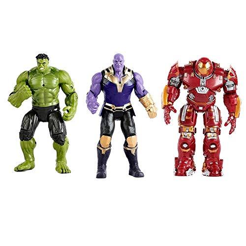 LYJ Marvel Avengers League Iron Man Marvel Avengers Occurrence Heroes Series Raytheon Action Figure, 3 Piece Set