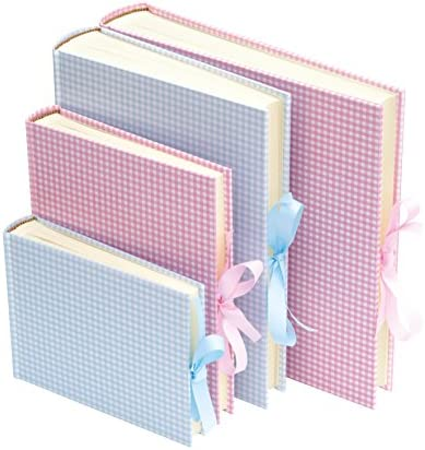 Semikolon Extra Large Bound Linen Photo Album 03339 Blue Gingham Cream Pages