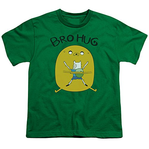Adventure Time Bro Hug Unisex Youth T Shirt for Boys and Girls, X-Large Kelly Green