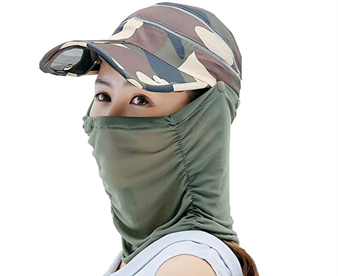 d5f16a964 Elufly Women's Foldable UV Protection Baseball Cap Removable Neck/Face Flap  Cover Hat