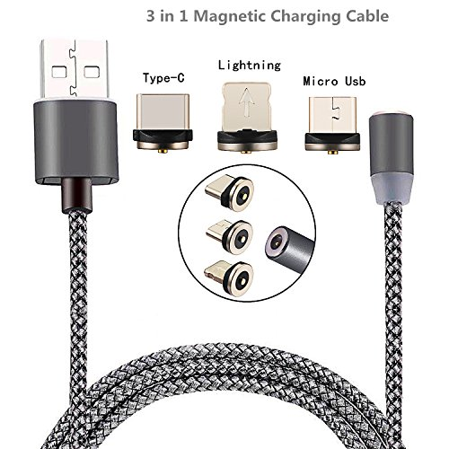 Lightning Micro USB Type-C Magnetic Cable dikesitu 3-in-1 Detachable Magnetic Charging Cable 3.6Ft 2.1A Nylon Braided Charging Cord for Iphone6 6s 7 plus 5 se 5s Samsung s7 Android Smartphones (Motorola V3 Mobile Power Cord)