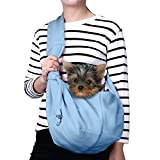 TOMKAS Small Dog Cat Carrier Sling Hands Free Pet Puppy Outdoor Travel Bag Tote Reversible (Blue) Review
