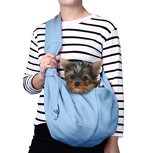 TOMKAS Small Dog Cat Carrier Sling Hands Free Pet Puppy Outdoor Travel Bag Tote Reversible (Blue)