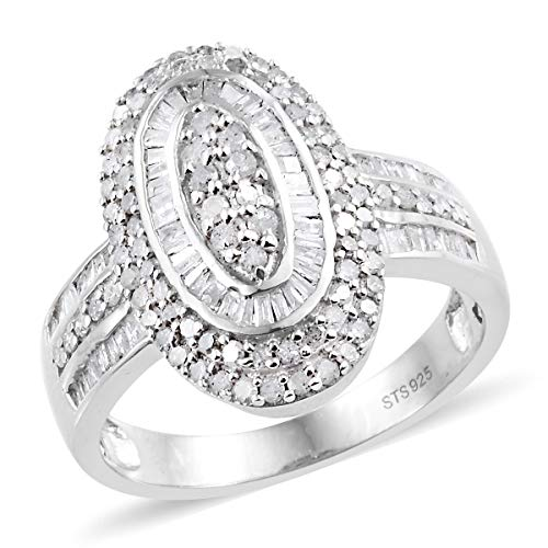 Journey Diamond Fashion Ring - 925 Sterling Silver Platinum Plated Diamond Baguette Bridal Anniversary Ring Size 7 Cttw 3