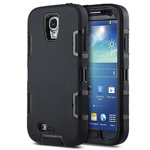 Carcasa ULAK híbrida resistente para Samsung Galaxy S4 i9505 i9500 con protector de pantalla (Azul + Negro) Negro/Negro