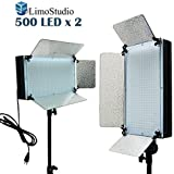 LimoStudio 2 X 500LED Dimmable Photo Video light Panel, Photography Photo Video Studio LED Lighting Kit, AGG1872