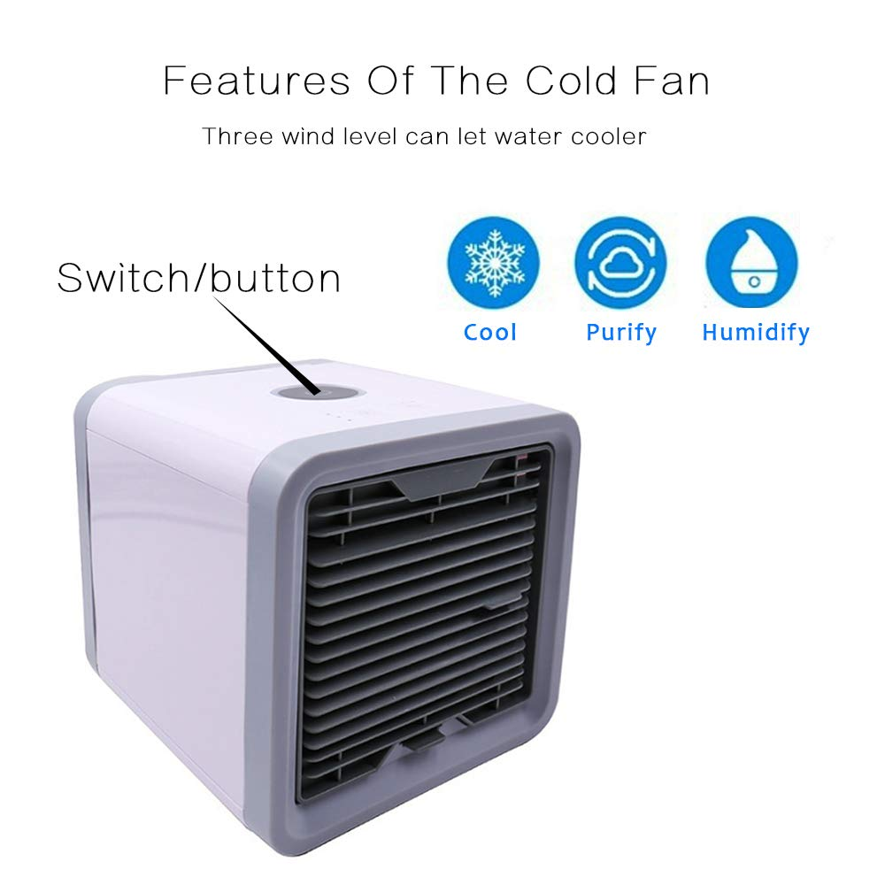 DiiZii Personal Space Air Cooler, 3 in 1 USB Mini Portable Air Conditioner, Humidifier, Purifier 7 Colors Nightstand, Desktop Cooling Fan Office Home Outdoor Travel by DiiZii (Image #3)