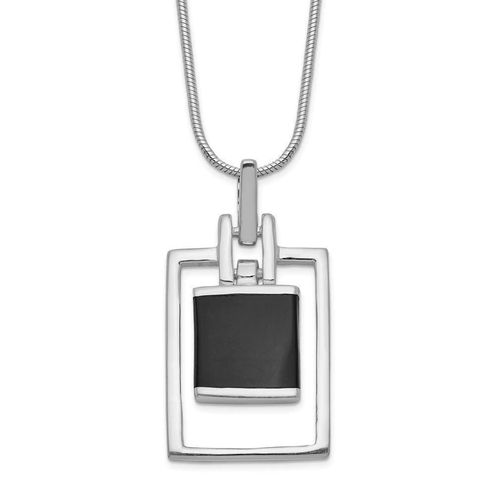 Jewel Tie 925 Sterling Silver Simulated Onyx Pendant Necklace 1mm