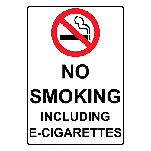 ComplianceSigns Vertical Vinyl No Smoking Including E-Cigarettes Labels, 5 x 3.50 in. with English Text and Symbols, White, pack of 4