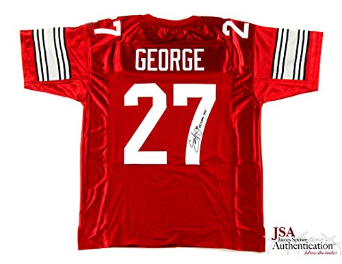 Eddie George Autographed/Signed Ohio State Buckeyes Custom Home Jersey with 'Heisman 1995' Inscription