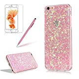 Glitter Cover for iPhone 6S/6,Girlyard Crystal Luxury Bling Shinning Design Soft TPU Ultra-thin Flexible Rubber Anti-slip Scratch Resistant Sleeve for iPhone 6S/6 (4.7 inch)-Pink
