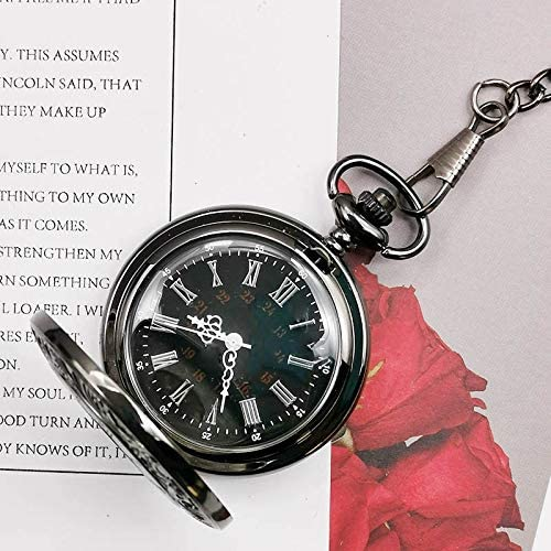 QWASZ Orologio da tasca Charm Orologio al quarzo nero Orologio da tasca Orologio vintage cavo con pendenti a catena Donna Uomo Regali10 pezzi