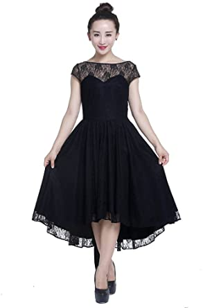 Plus Size Black Gothic Retro Hi Lo Lace Short Sleeve Dress at Amazon ...