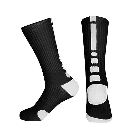 5320bd811 Amazon.com  Mens Dri-fit Cushioned Basketball Socks Athletic Crew Socks  Long Sports Outdoor Socks Compression Socks 1 Pairs (1 Pair-Black)  Clothing