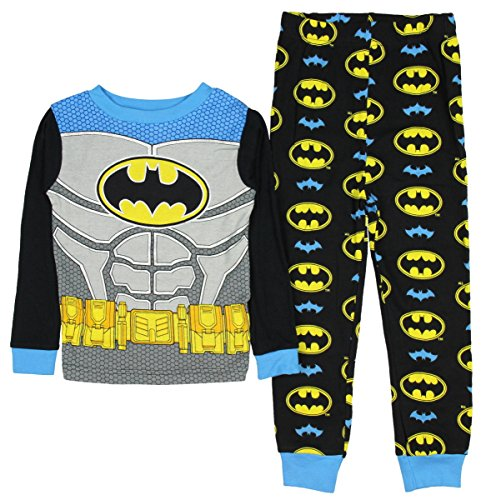 DC Comics Batman Little Boys New look Long Sleeve Pajamas Cotton Pajamas Tight Fit (3T),Black,blue,gray,yellow (Pajamas Superhero)