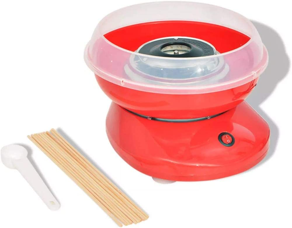 Nishore Máquina de Algodón de Azúcar Modelo con Ruedas Potencia 480 W Color Roja 28 x 26 x 17,3 cm