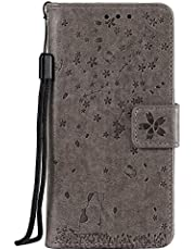 NEXCURIO Wallet Case for Huawei P10 Lite with Card Holder Side Pocket Kickstand, Shockproof Leather Flip Cover Case for Huawei P10 Lite - NEHHA130754 Grey