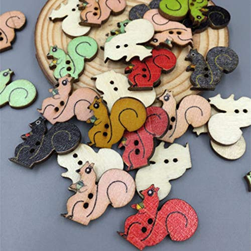 Maslin DIY 100pcs Wooden Mixed Color Sewing Squirrels Buttons Scrapbooking Decoration 2-Holes 22mm ()
