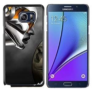 KLONGSHOP // Cubierta de piel con cierre a presión Shell trasero duro de goma Protección Caso - Robot mujer abstracta - Samsung Galaxy Note 5 5th N9200 //