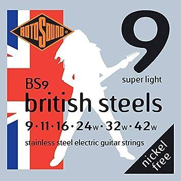 Rotosound BS9 - Juego de cuerdas para guitarra eléctrica de acero inoxidable, 11 16 24 32 42: Amazon.es: Instrumentos musicales