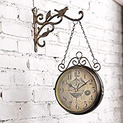 Clocks, Garden Outside Double Sided Bracket Wall Clock Vintage Two Sided Design Silent Clock Living Room Mute Clock for Use Indoors and Outdoors