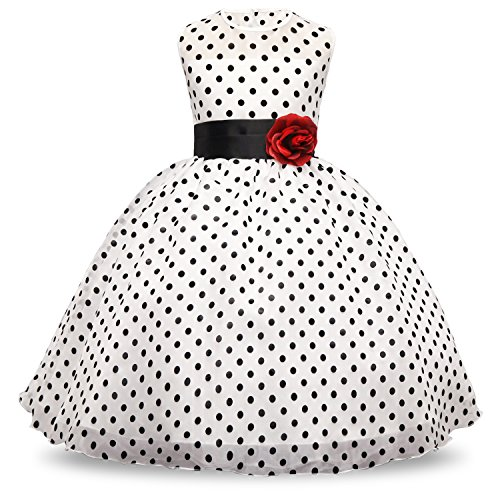 NNJXD Girl Sleeveless Round-Neck Polka Dot Flower Tutu Dress Size (150) 7-8 Years White 3