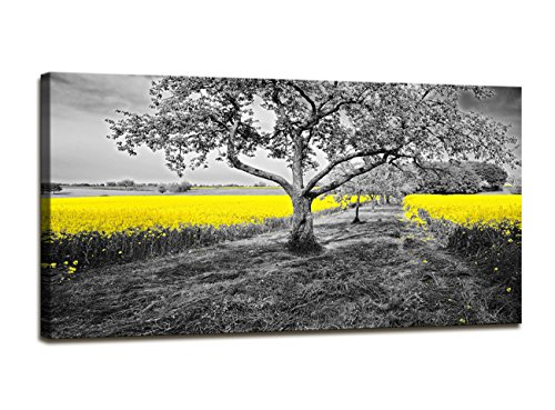 youkuart Canvas Wall Art Yellow Oilseed Rape Fields Black and White Landscape Giclee Canvas Prints Artwork Pictures Paintings on Canvas Ready to Hang