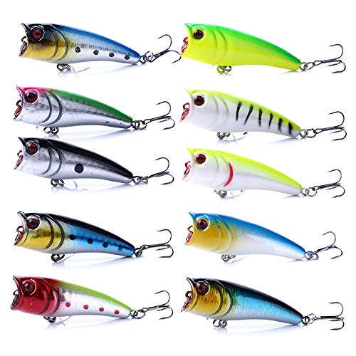 HENGJIA Hard Plastic Popper Topwater Floating Fishing Lures Surface Water Bass Baits Hooks Tackle