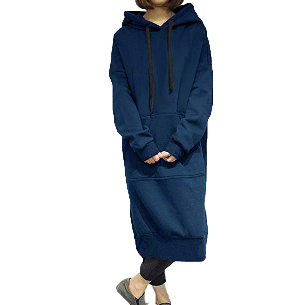 LMisGirl Women Long Sleeve Hoodie Dress Fleece Sweatshirt PulloverTunic Long Dress Outwear