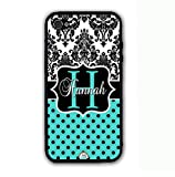 ArtsyCase Damask Teal Polka Dots Monogram Personalized Name Phone Case - iPhone 5 and iPhone 5S (Black)