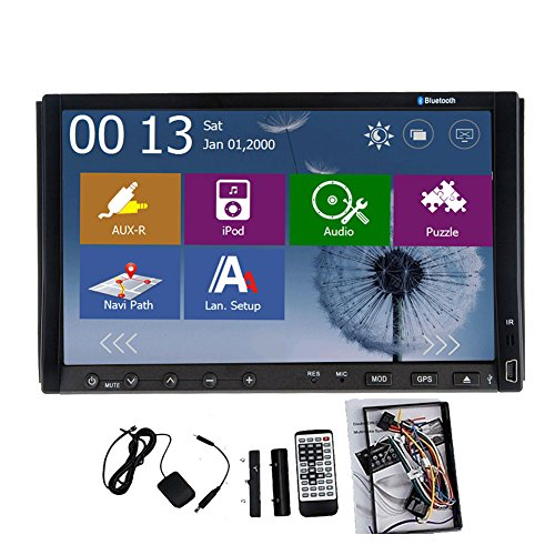 Pupug Windows 8.0 UI 7 Inch Double 2 Din in Dash GPS Car Stereo DVD Player USB Sd Bluetooth Tv Mp3 Radio Navigation with USB direct for iPod/iPad/iPhone