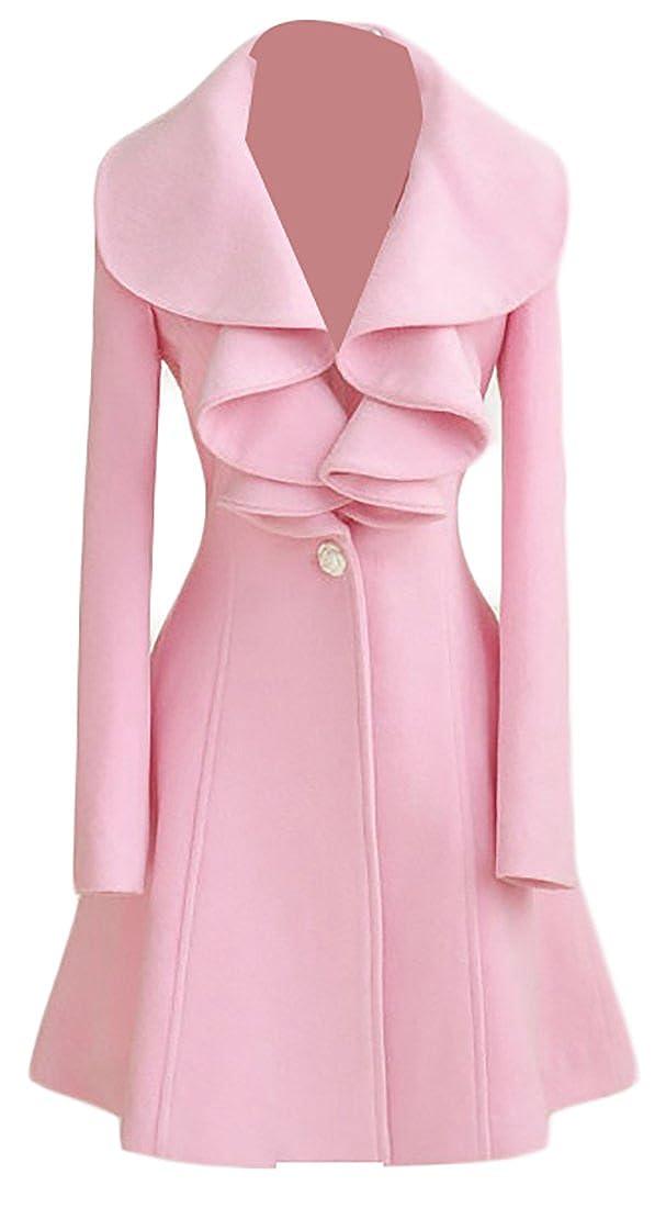 Cruiize Womens One Button Long Wool Blend Peacoat Ruffle Overcoat Coat