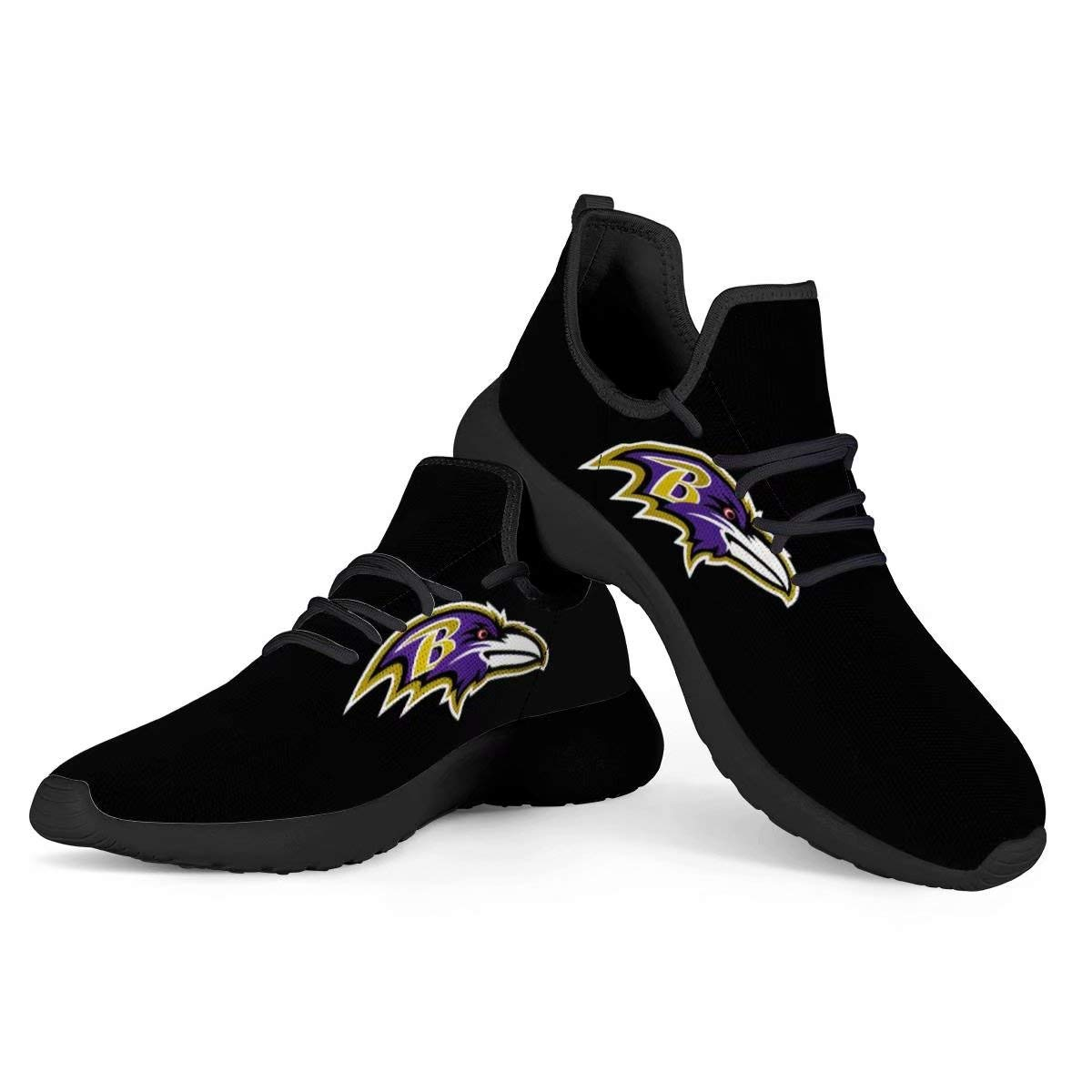 Baltimore Ravens Football Team Logo Walking Shoes Lightweight Running Shoes Fashion Breathable Sneakers Mesh Soft Sole Casual Athletic Lightweight for Men Women