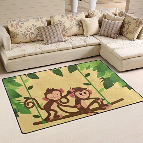 WellLee Animal Area Rug,Jungle Monkeys Playing Swing Floor Rug Non-Slip Doormat for Living Dining Dorm Room Bedroom Decor 60x39 ()