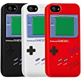 iPhone 5 Silicone Gameboy Case Bundle Pack (x3) Black, White, Red - For Girls and For Guys - Soft Rubber Gel Classic Nintendo Game Boy Style Cover 5th 5G