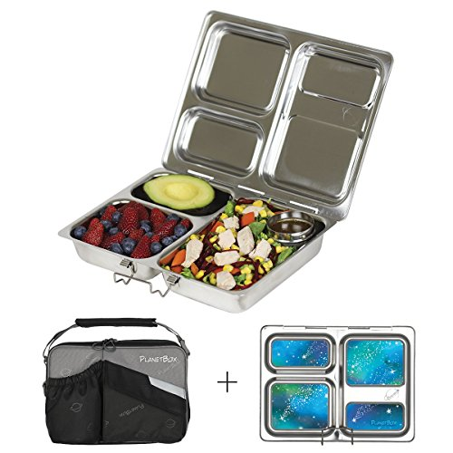PlanetBox LAUNCH Eco-Friendly Stainless Steel Bento Lunch Box with 3...
