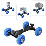 WAAO Tabletop Mobile Rolling Slider Dolly Car Skater Video Track Rail for DSLR Camera Camcorder Speedlite Gopro iPhone Cellphones Flash Lights Magic Arm Rig