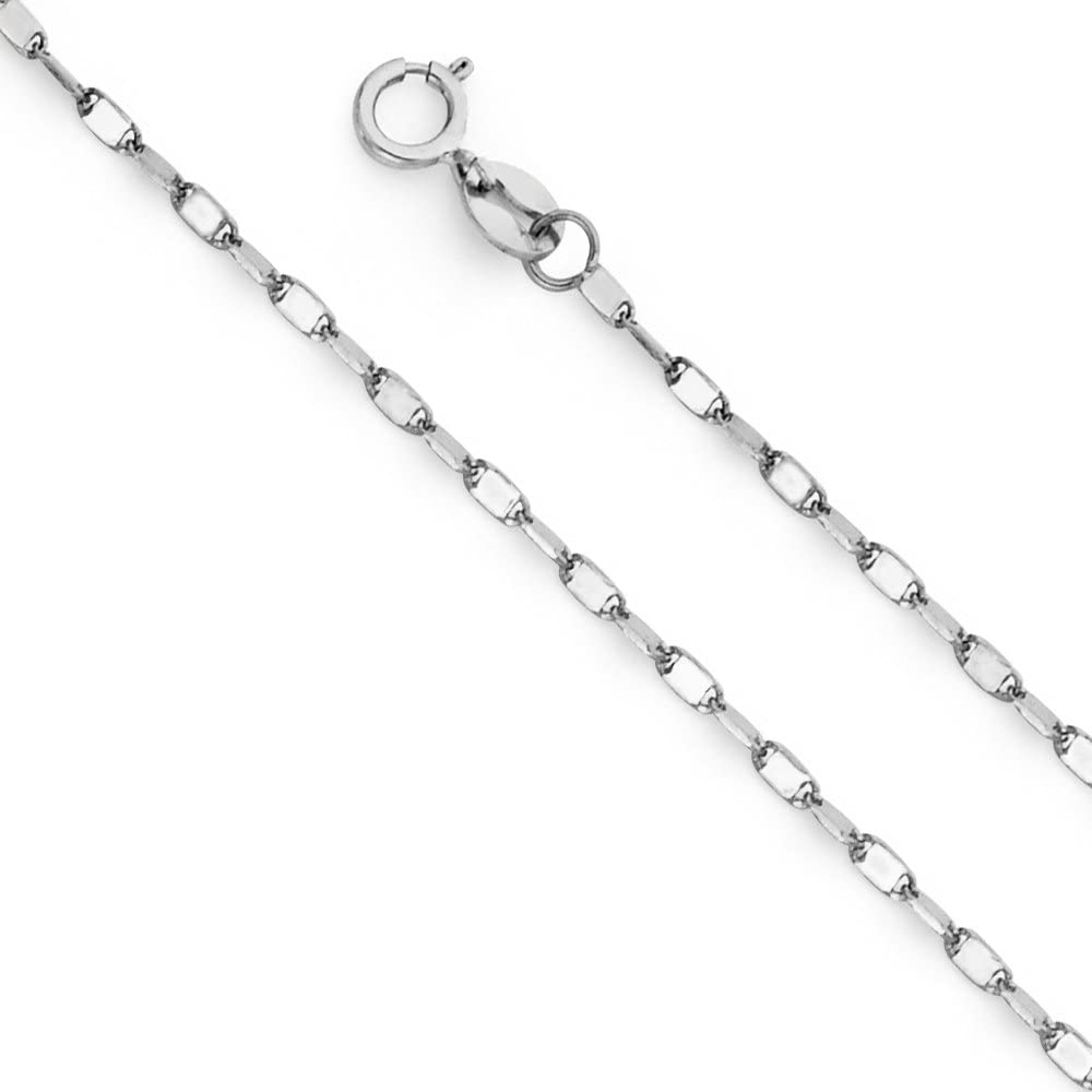 Ioka 14K Yellow OR White Solid Gold 2mm Twisted Mirror Chain Necklace with Spring Ring Clasp