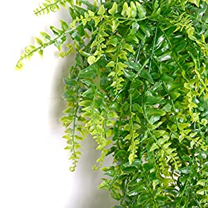 2 Pcs Artificial Plants Vines Boston Ferns Persian Greenery Rattan Fake Hanging Plant Faux Hanging Fern Flowers Vine Outdoor UV Resistant Plastic Plants for Wall Indoor 2