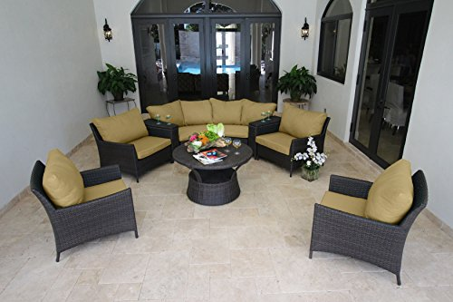 BHG W831091B1008 Flemings 9 Piece Deep Seating Sectional Featuring Sunbrella Fabric, Canvas Heather Beige price