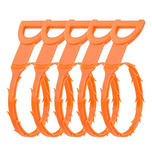 WHMING 20 Inches Hair Drain Clog Remover Flexible Drain (5 Pack), Hook Slow Drain Relief Cleaner Snake Hair Clog Tool for Drain Cleaning, Quick and Easy Drain Unclogger, Orange