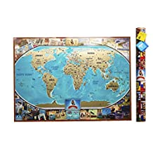 MyMap Colorfull Large World Scratch Off Map | 35'' x 25'' Push Pin Travel Map To Share The Memories Of Your Journeys | Thoughtful Gift Idea with Tube and Giftcard, Marker