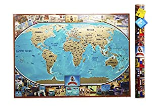 Amazon mymap colorfull large world scratch off map 35 x 25 world scratch off map 35 x 25 push pin travel map to share the memories of your journeys thoughtful gift idea with tube and giftcard marker gumiabroncs Image collections